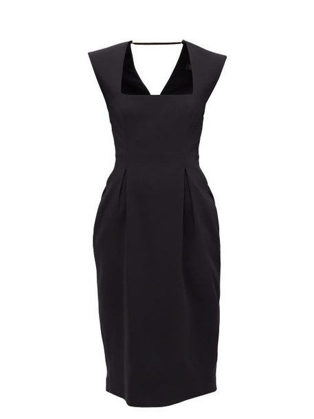 Versace - Square-neck Pleated Crepe Midi Dress - Womens - Black