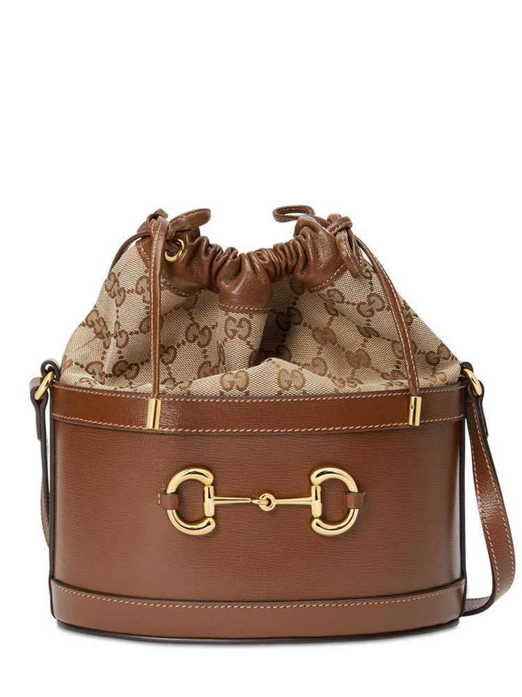 GUCCI 1955 Horsebit Leather & Original Gg Bag in brown