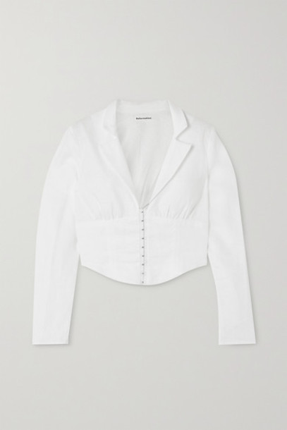 Reformation - Vance Cropped Linen Blouse - White