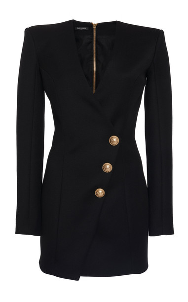 Balmain Structured Buttoned Cotton Wrap Dress in black