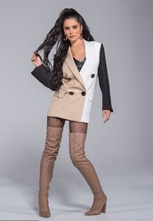 jacket,beige,nude,black,blazer,blazer dress,cheryl cole,celebrity,editorial