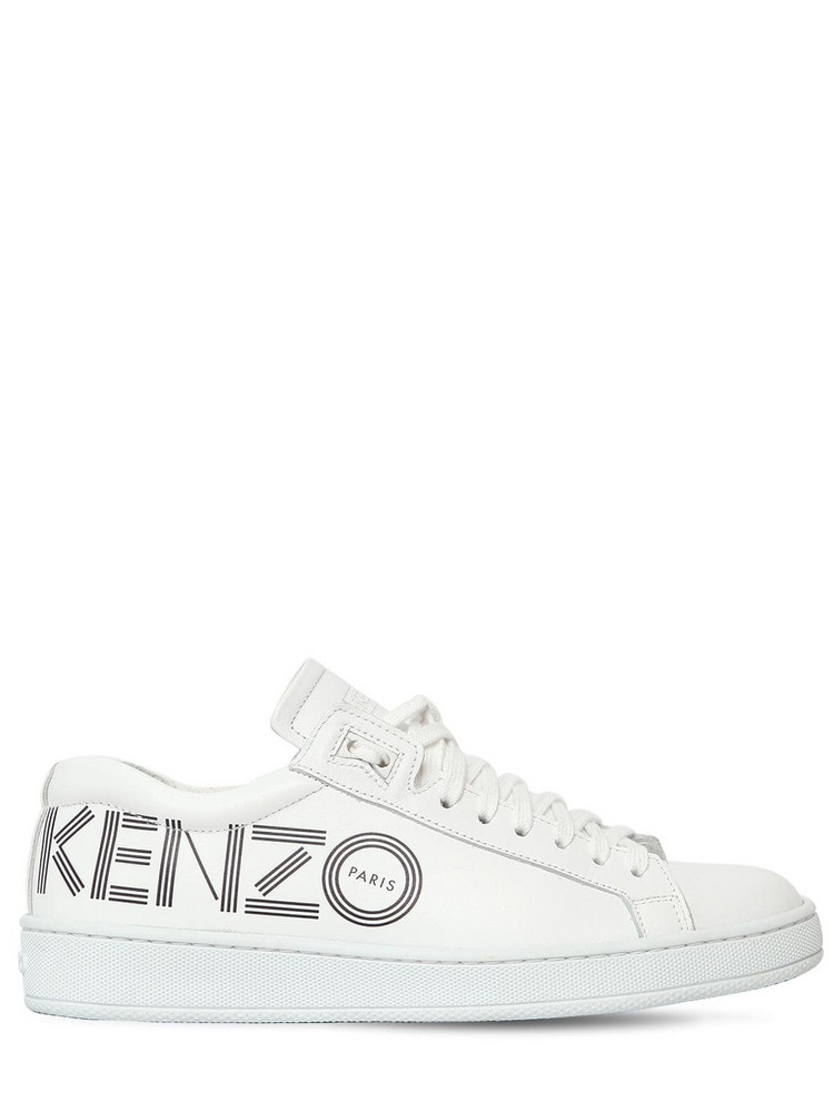 KENZO 20mm Tennix Logo Leather Sneakers in white