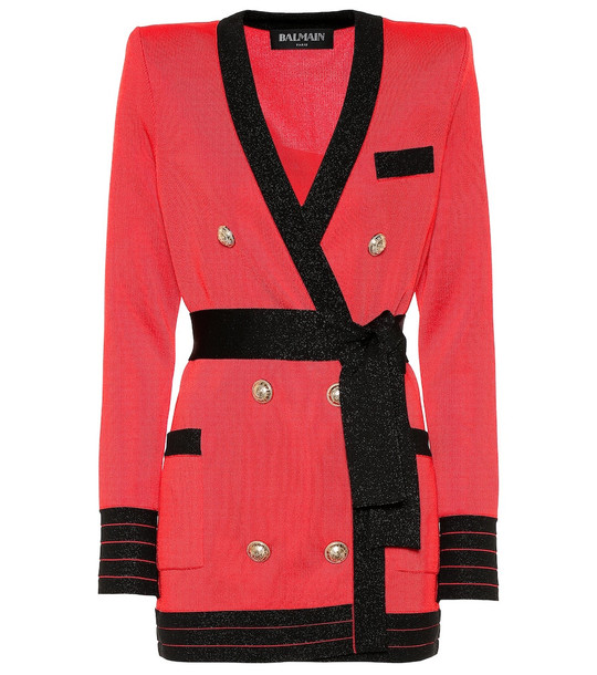 Balmain Belted knit minidress in red