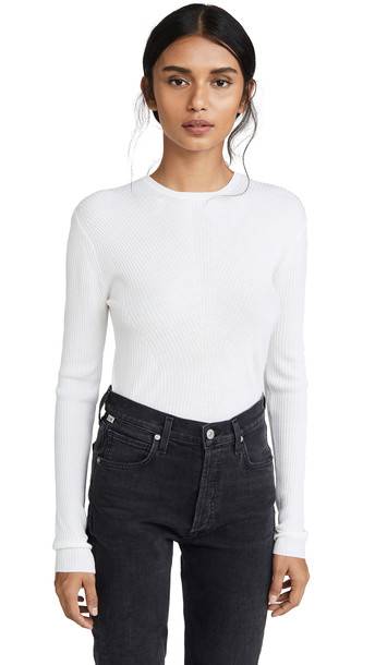 Theory Moving Rib Crew Pullover in ivory