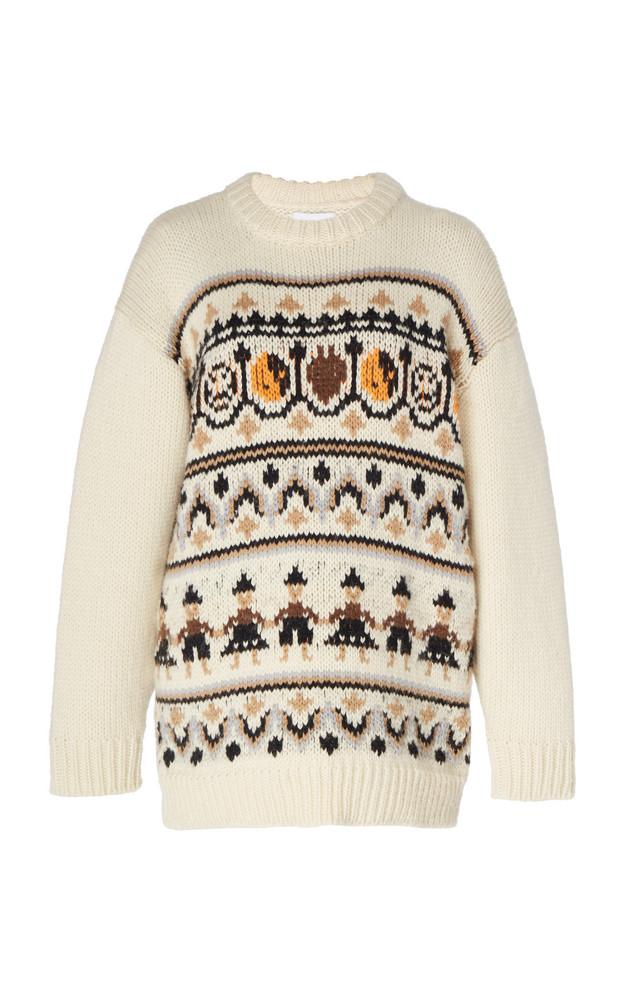 Ganni Intarsia Wool and Alpaca-Blend Sweater Size: XS in multi