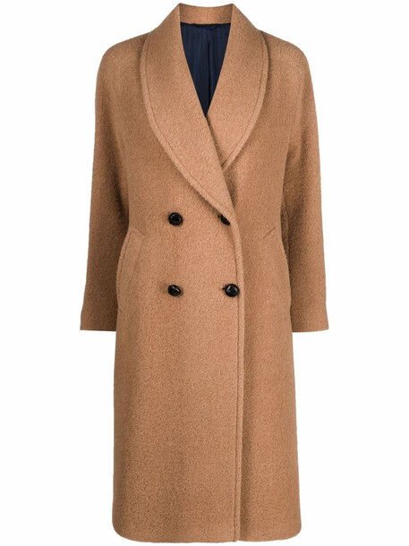 MP Massimo Piombo shawl-lapels wool-blend double-breasted coat - Brown