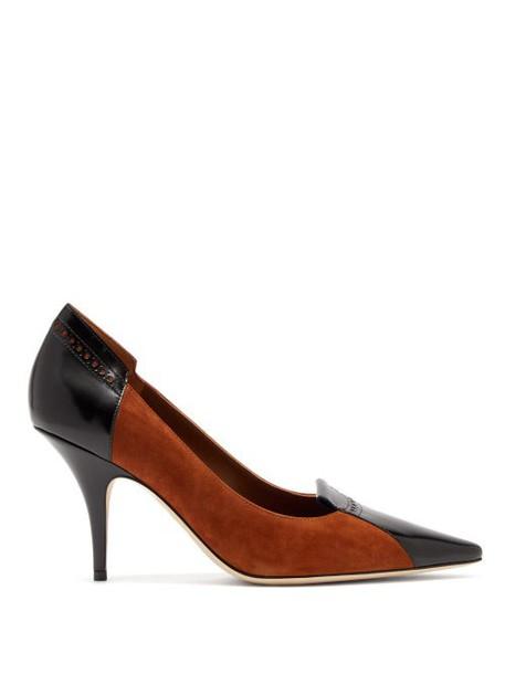 Burberry - Eldmon Perforated Suede Pumps - Womens - Black Tan