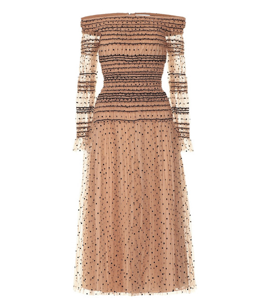 Self-Portrait Polka-dot tulle dress in brown