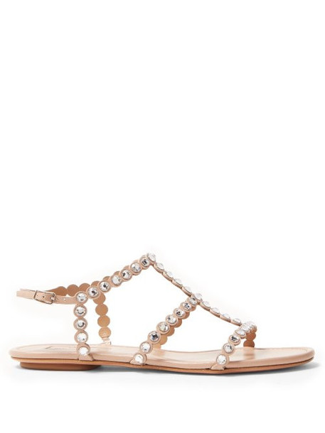 Aquazzura - Tequila Crystal Embellished Leather Sandals - Womens - Nude