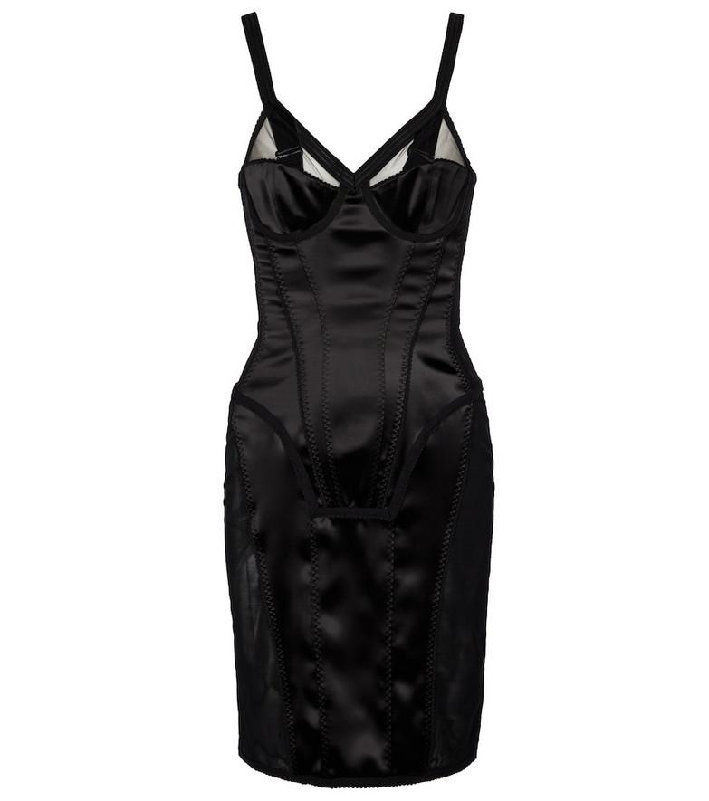 Burberry Stretch-satin minidress in black