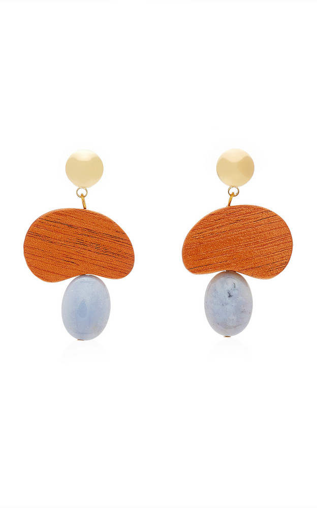 Sophie Monet The Amulet Gold-Plated, Mahogany Wood and Agate Earrings in brown