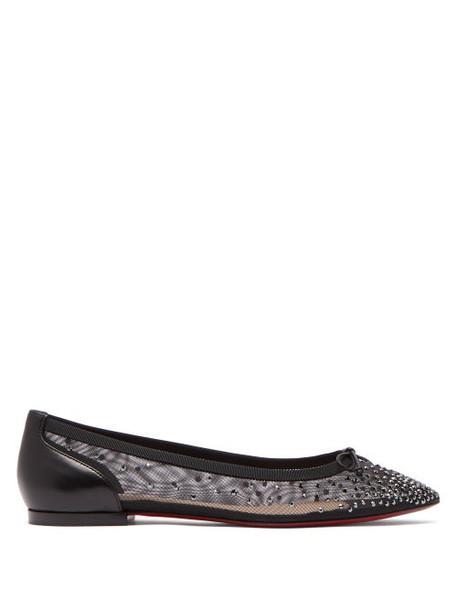 Christian Louboutin - Patio Crystal Embellished Mesh Flats - Womens - Black