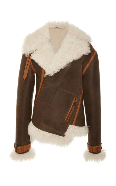 MONSE Twisted Shearling-Lined Leather Jacket in brown