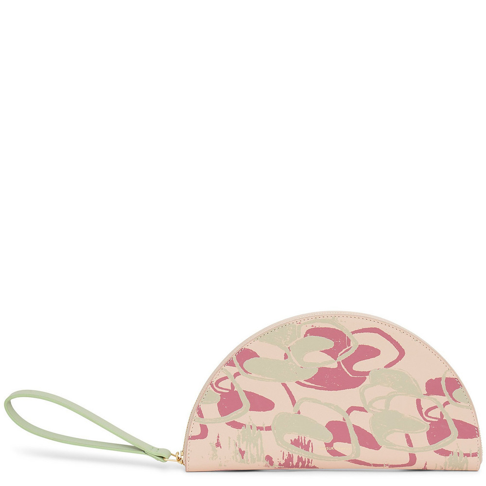 Mansur Gavriel Calf Moon Wallet with Marc Camille Chaimowicz Print - Rosa/Saddle