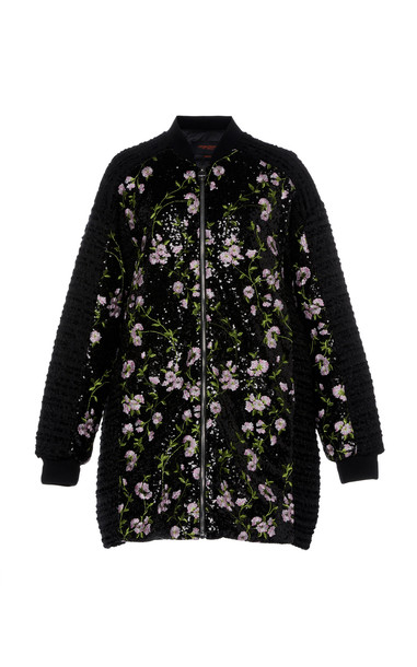 Giambattista Valli Oversized Floral-Embroidered Sequined Coat Size: 46