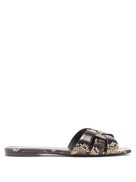 Saint Laurent - Tribute Nu Pieds Python-effect Leather Slides - Womens - Brown Multi