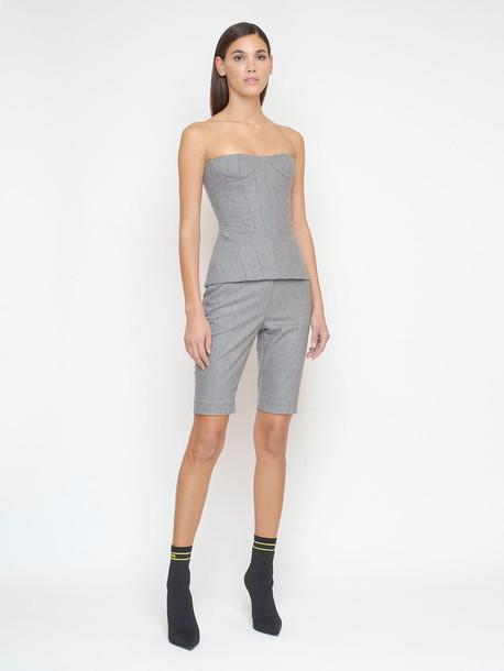 BALMAIN Stretch Flannel Wool Bustier Top in grey