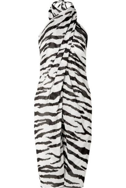 On The Island By Marios Schwab - Psili Zebra-print Cotton-voile Pareo - Black
