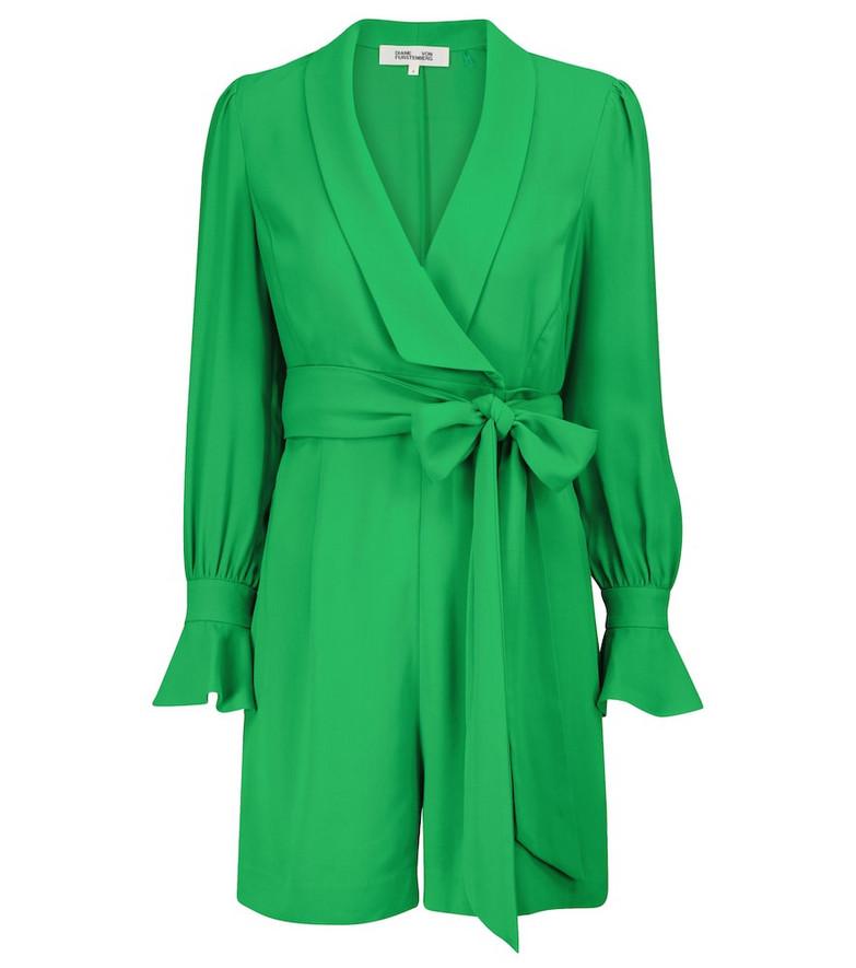 Diane von Furstenberg Ina belted georgette playsuit in green