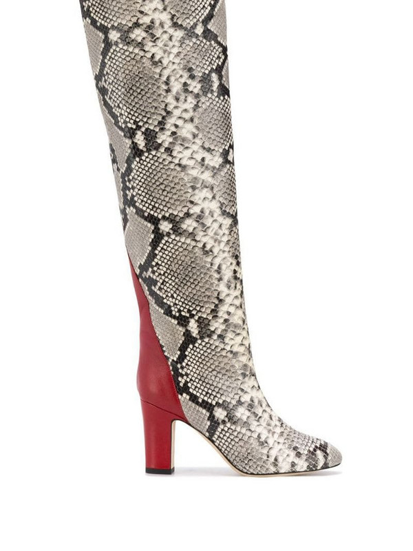 Gia Couture python print knee high boots in white