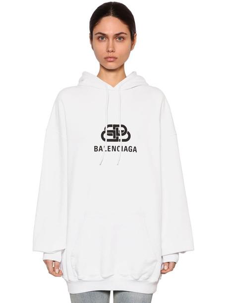 BALENCIAGA Oversize Logo Cotton Sweatshirt Hoodie in white