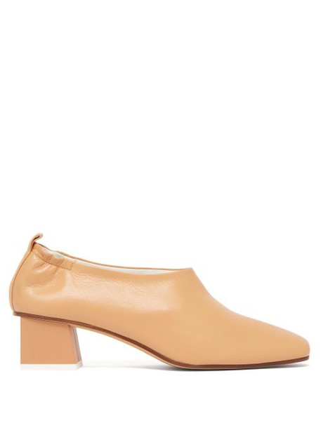 Gray Matters - Micol Block Heel Leather Pumps - Womens - Tan
