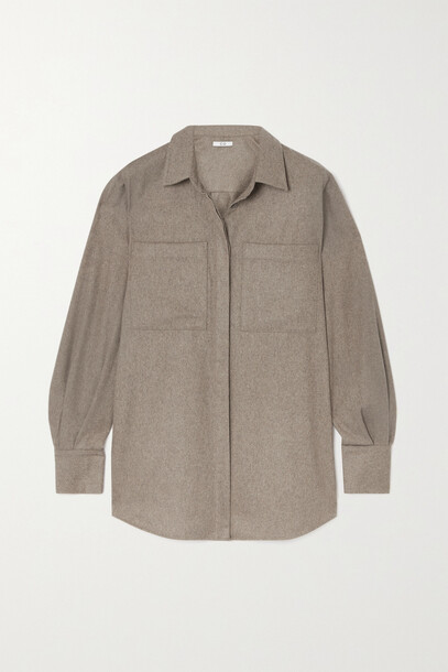 Co - + Net Sustain Natural World Recycled Cashmere-flannel Shirt - Brown