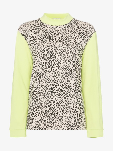 Sandy Liang lewis leopard and neon cotton sweatshirt