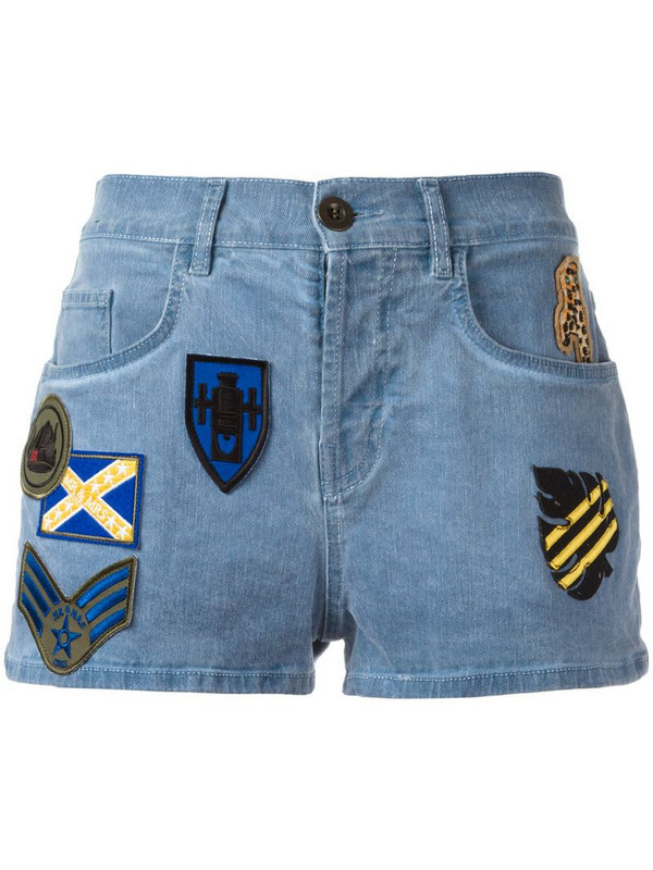 Mr & Mrs Italy patched denim shorts in blue