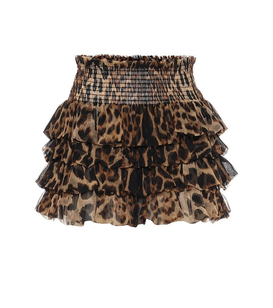 Saint Laurent Leopard-print silk miniskirt in brown