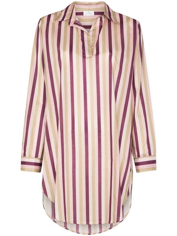 Pour Les Femmes Poet striped sleep shirt in purple