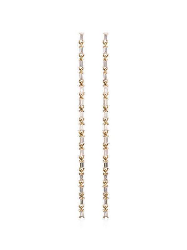 Lizzie Mandler Fine Jewelry baguette chain chandelier earrings in gold / yellow