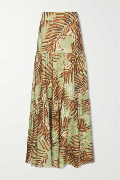 PatBO - Palmeira Tiered Printed Woven Maxi Skirt - Leaf green