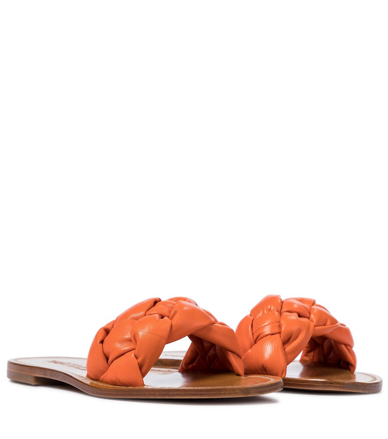 Souliers Martinez Exclusive to Mytheresa – Pelota braided leather sandals in orange