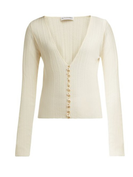 Altuzarra - Piazza Wool Blend Cardigan - Womens - Ivory