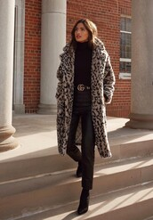 pants,black,leopard print,coat,fur coat,faux fur,rocky barnes,instagram,blogger,blogger style