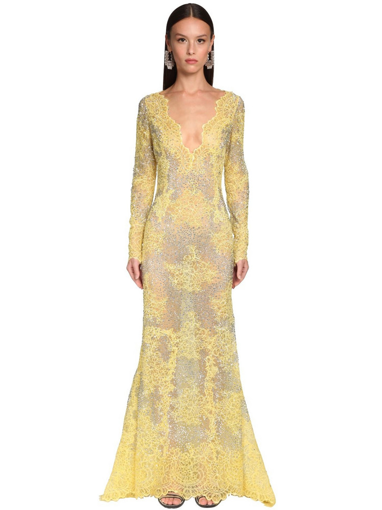 ERMANNO SCERVINO Embellished Sheer Lace Long Dress in yellow