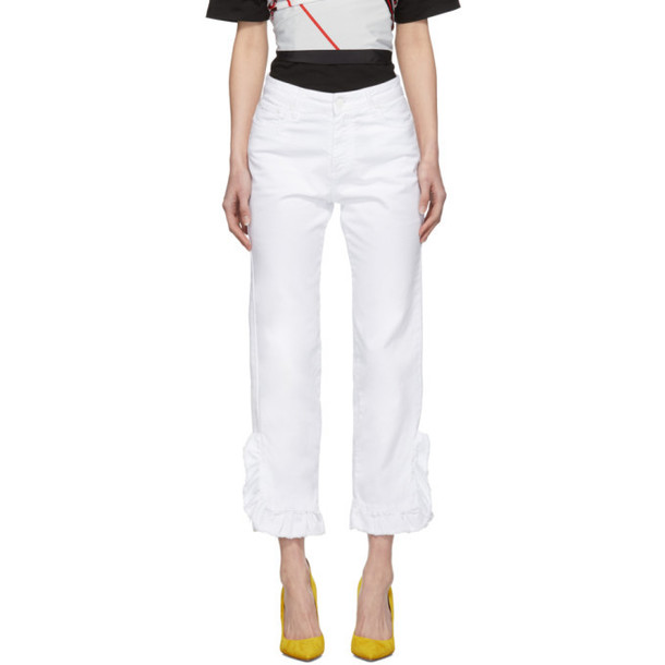 MSGM White Ruffled Jeans