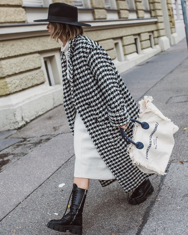 bag white bag long coat houndstooth black bag combat boots white dress turtleneck dress hat