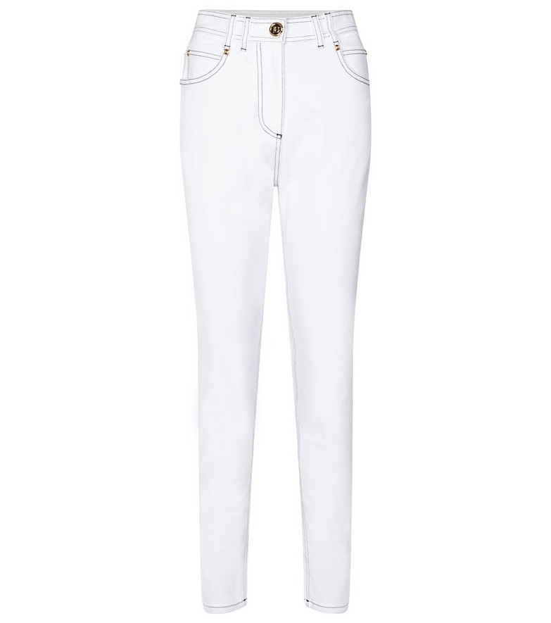 Balmain High-rise skinny jeans in white