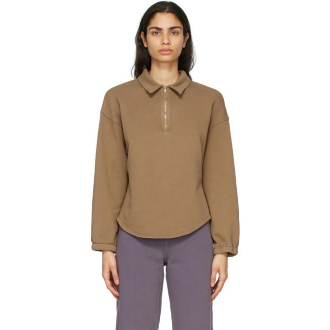 Raquel Allegra Brown Fleece Vintage Collar Sweatshirt in camel