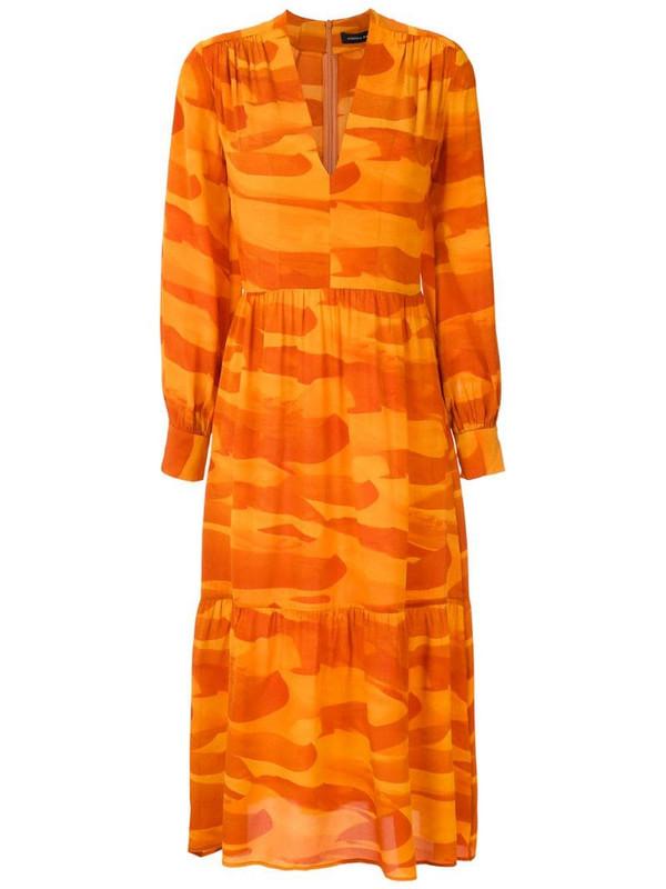 Andrea Marques silk V-neck dress in orange