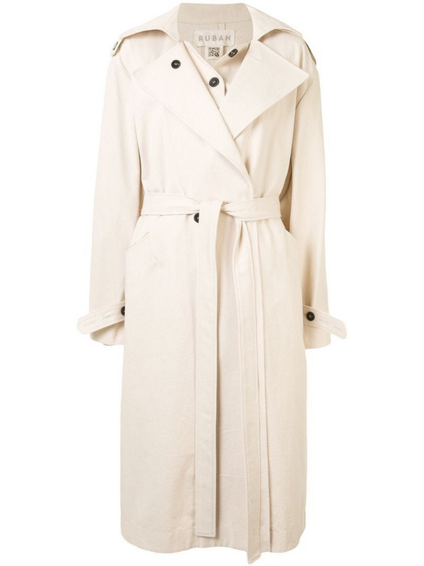 Ruban poncho trench coat in neutrals
