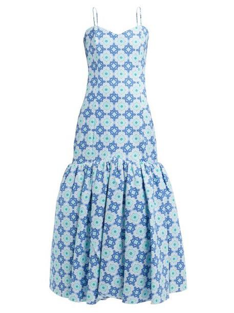 Rebecca De Ravenel - Daffodil Floral Print Cotton Blend Dress - Womens - Blue Print