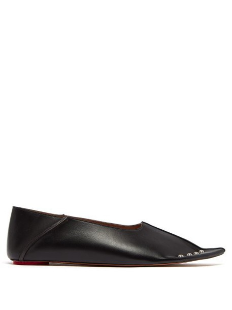 Marni - Collapsible Back Studded Leather Flats - Womens - Black