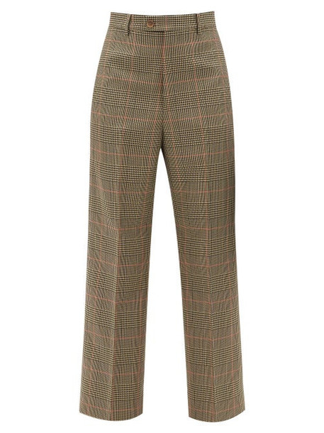 Maison Margiela - High-rise Pleated Checked Cropped Twill Trousers - Womens - Green Multi