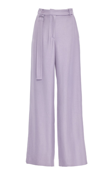 Sally LaPointe Duchess Satin Wide-Leg Pants in purple