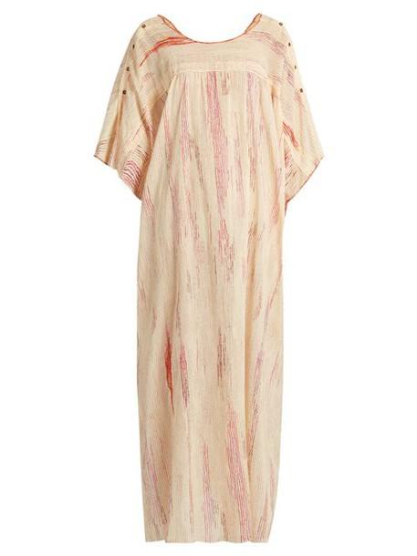 Mafalda Von Hessen - Spotted Stripe Print Cotton Dress - Womens - Pink Multi