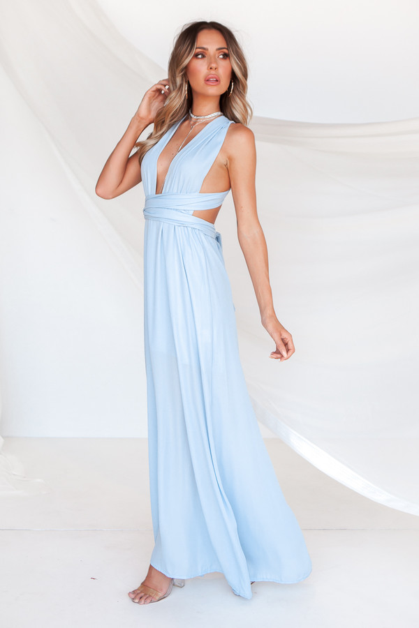 dress blue maxi multiway low back tie up multicolor formal prom maxi dress