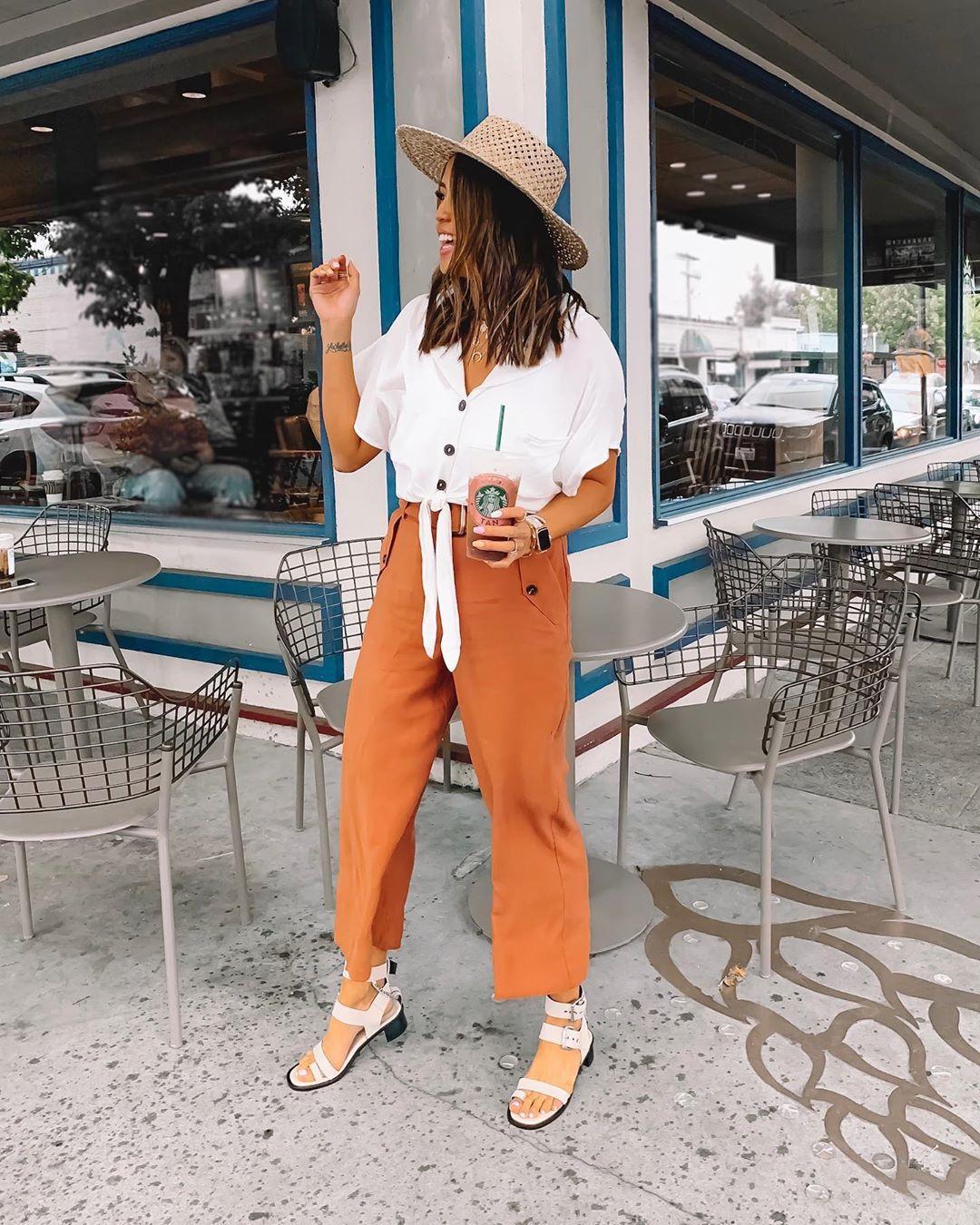 pants cropped pants wide-leg pants white sandals white shirt hat
